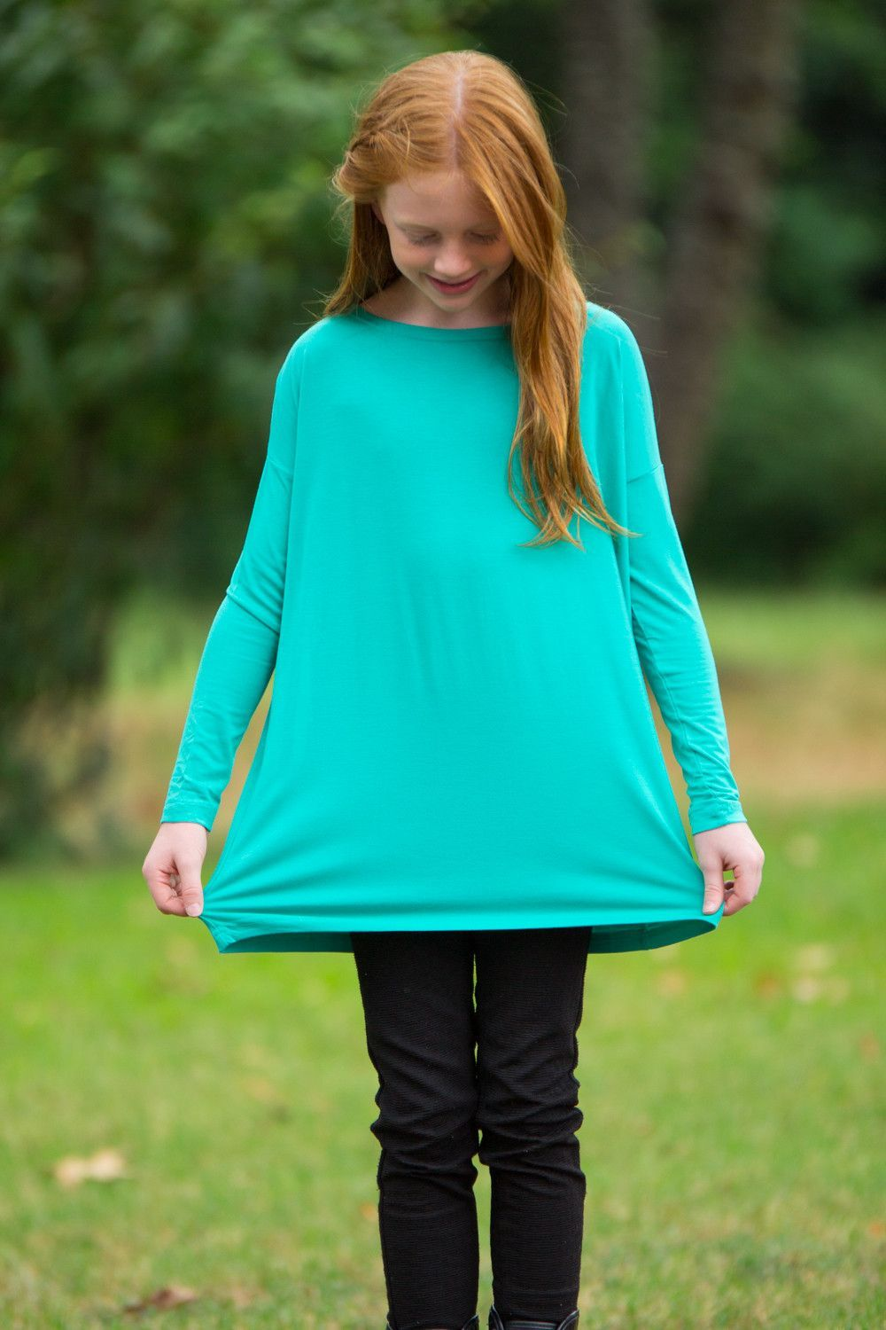 The perfect kids long sleeve piko toplight green products