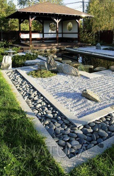 the concept of rocks brought into design to allow for an enhanced experience while walking barefoot in the yard gardenLove the concept of rocks brought into design to all...