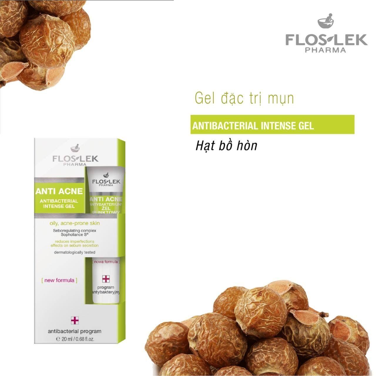 Kem trị mụn Floslek anti acne antibacterial intense gel 20ml đặc trị mụn    Trị mụn