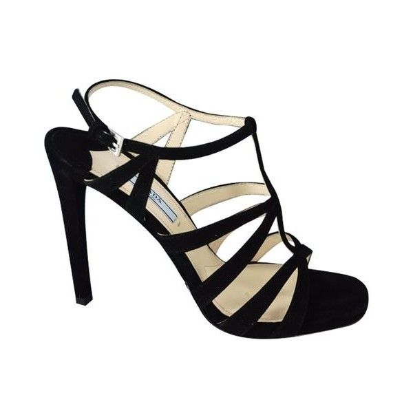 Pre-Owned Prada Strappy Black Suede Sandals Size 38 High Heel Caged ($420) ❤ liked on Polyvore featuring shoes, sandals, black, t strap sandals, high heel platform sandals, black suede sandals, strap sandals and ankle strap high heel sandals
