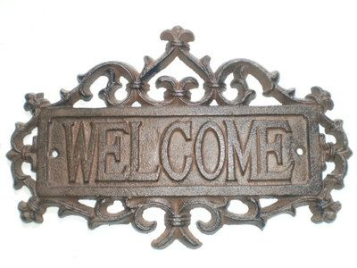 Cast Iron Welcome Sign Garden Decorative Wall Plaque Rust Finish New Free SHIP   eBay