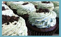 mint oreo-- Chocolate cake, mint oreo frosting, sprinkled with cookie crumbs