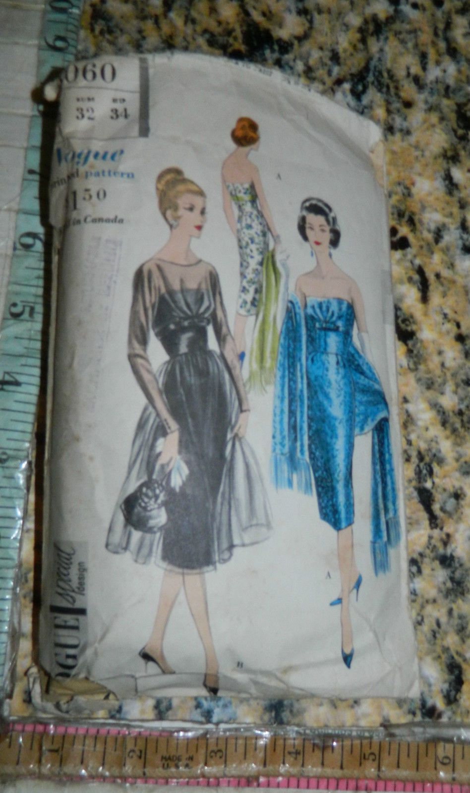 Vintage dress pattern s s vogue special design party prom
