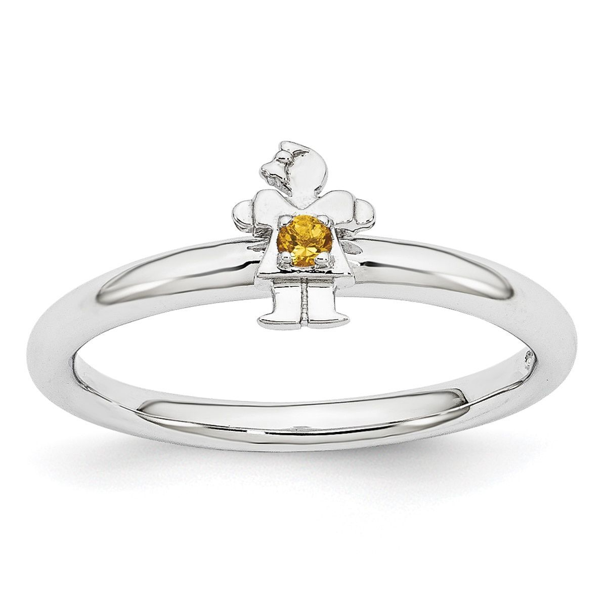 Sterling Silver Affordable Expressions Rhodium Citrine Girl Ring