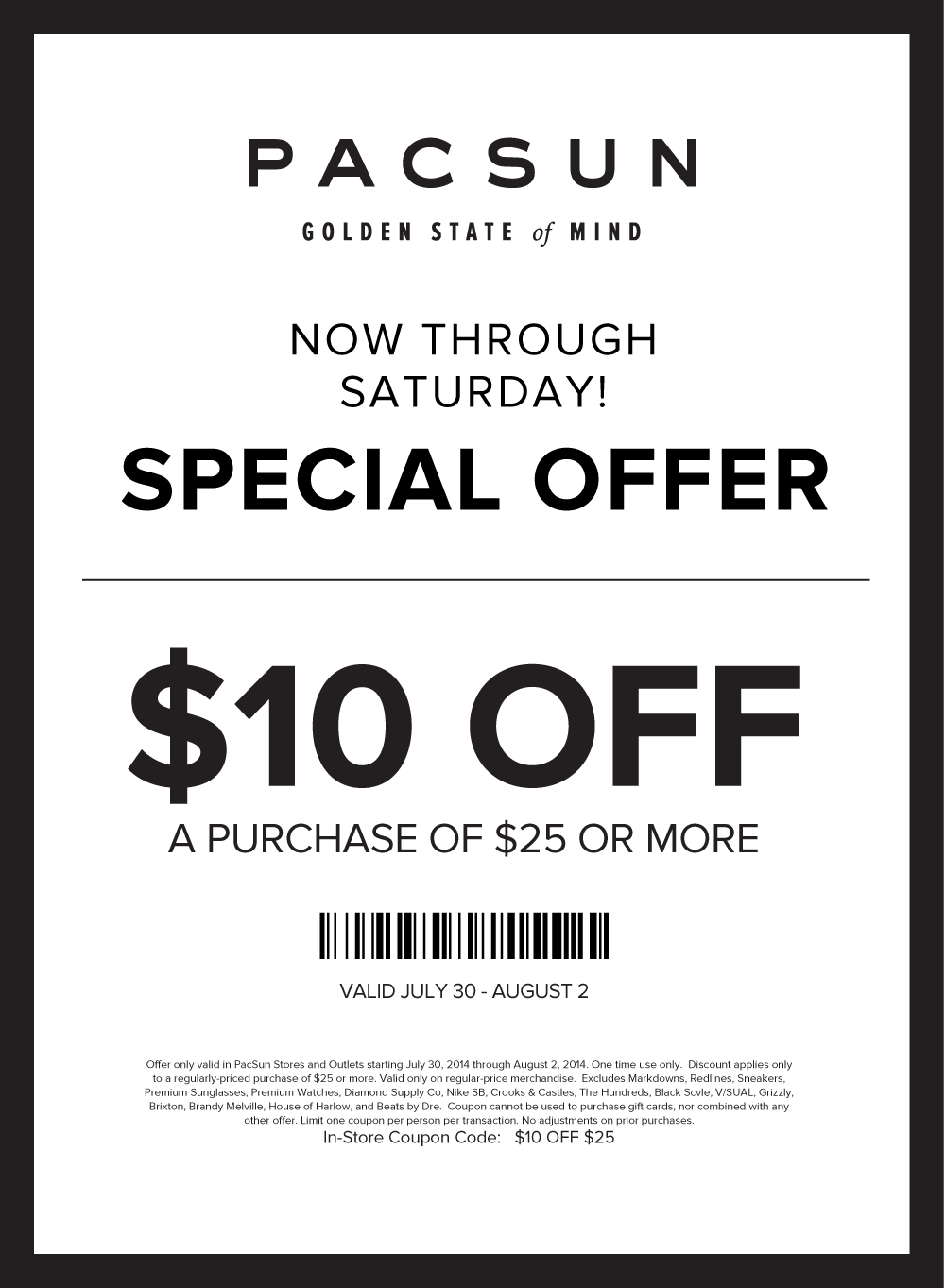 picture relating to Pacsun Printable Coupon known as Pinned July 30th: $10 off $25 at PacSun #coupon through The