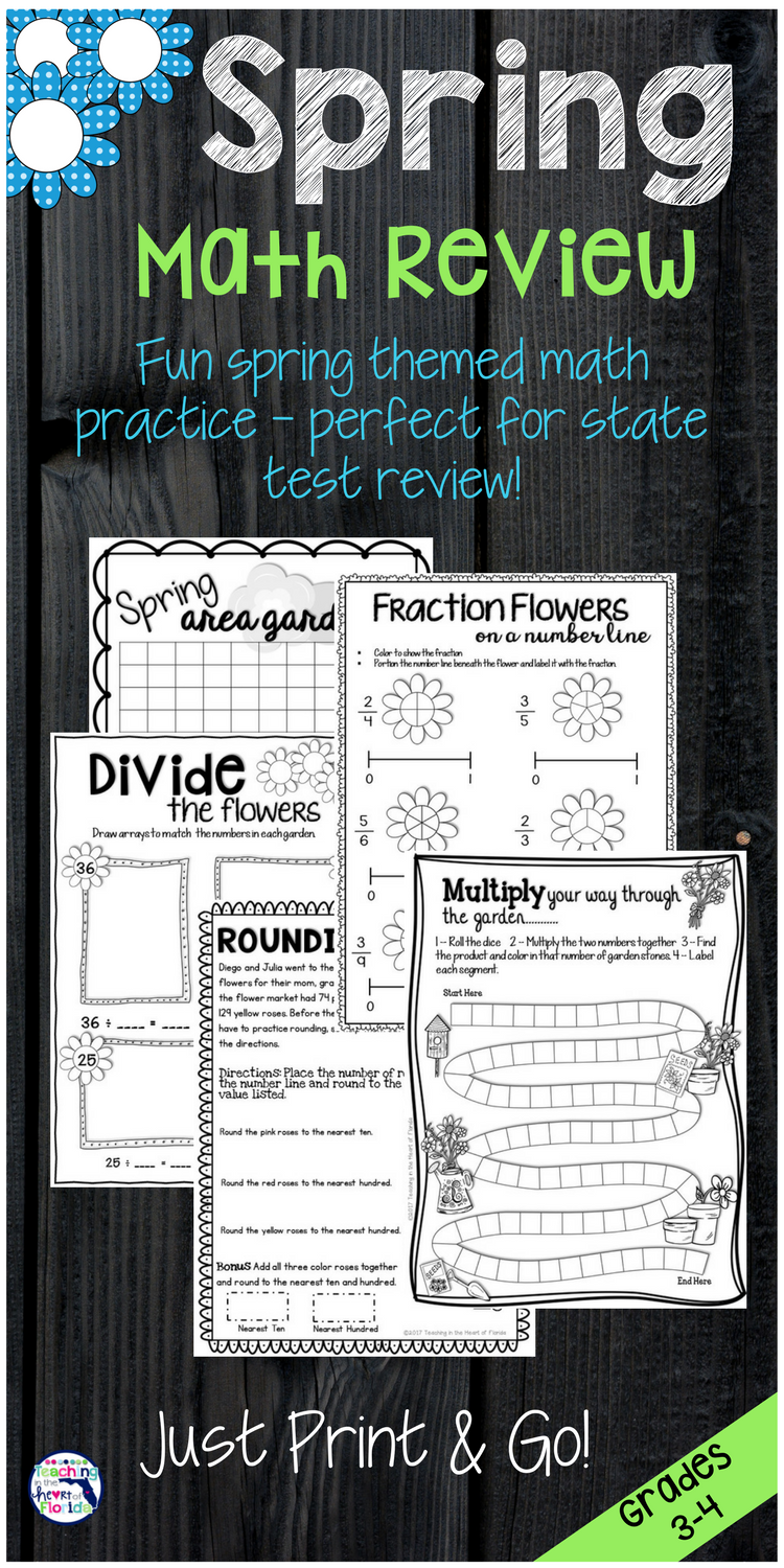 Spring Math Review For 3 4th Grades Fractions Area Rounding Multiplication And Division Are You Looking F Math Review Math Review Worksheets Spring Math [ 1500 x 750 Pixel ]