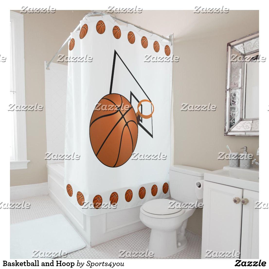 Basketball And Hoop Shower Curtain Boys Bathroom Decor Bathroom