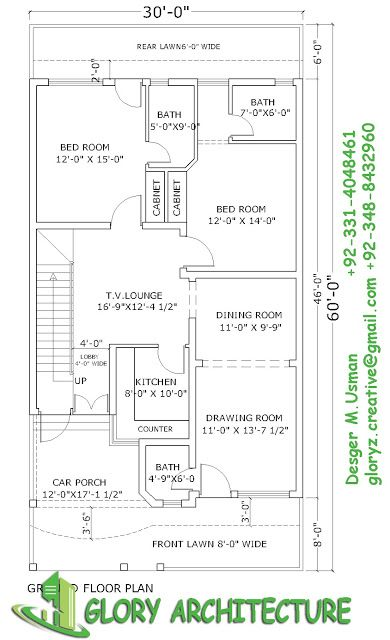 30x60 House Planelevation3D View Draw 30x60 House