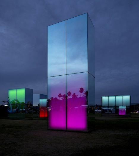 Neon mirrors by Phillip K Smith III were glowing beacons at Coachella #lightartinstallation