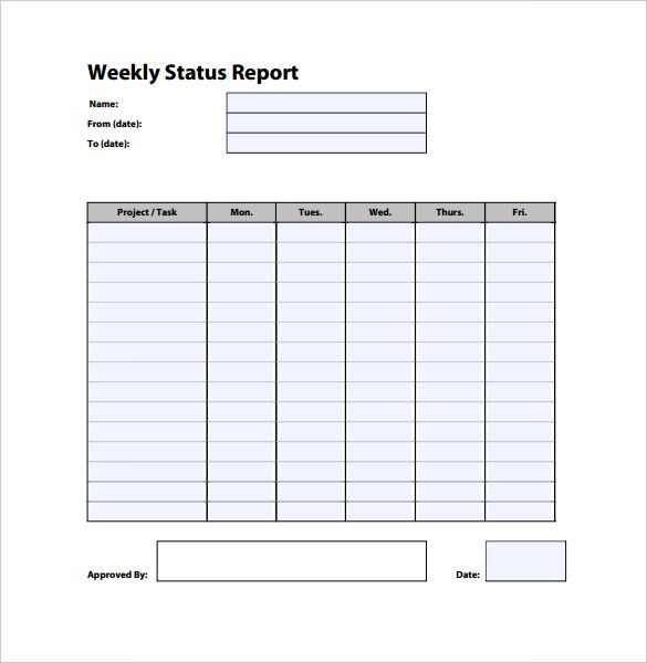 Weekly Status Report Template Free Word Documents Download Sample