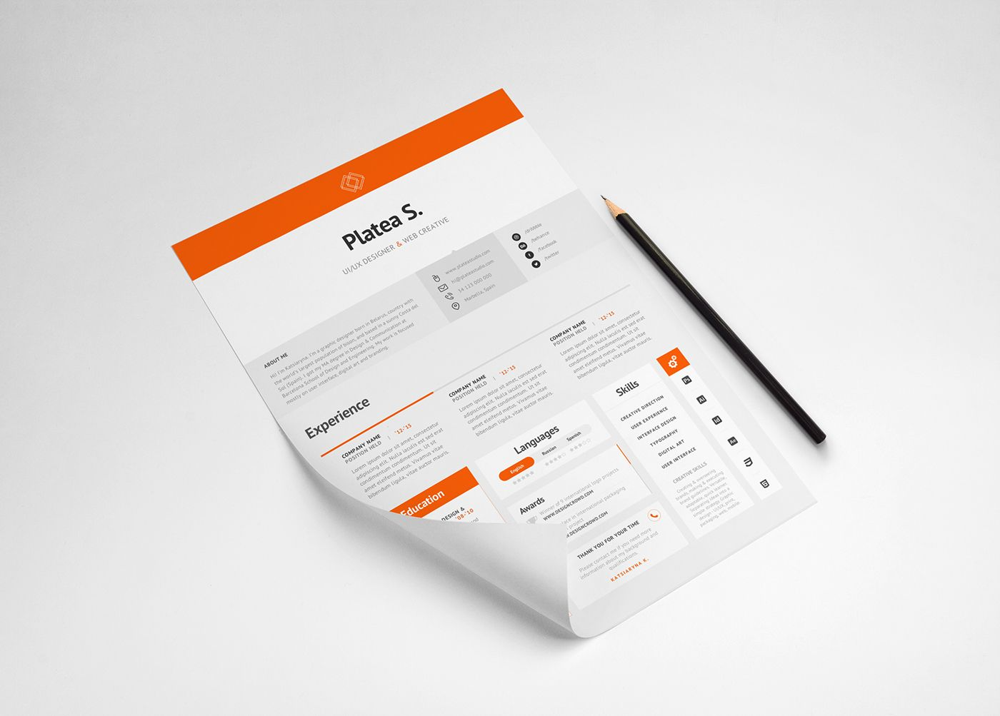 Free Resume Template On Behance  Designspiration