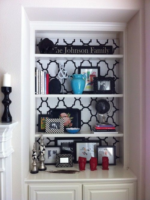 Different Bookshelves before & after bookshelf. cover the back of a bookcase with fabric