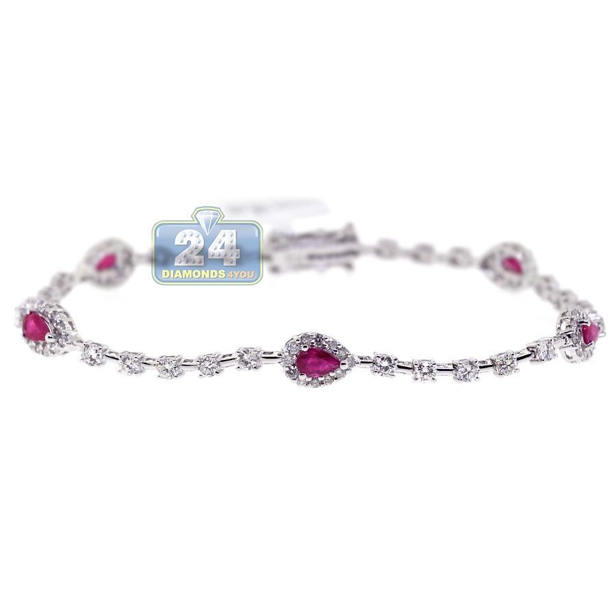 K white gold ct diamond ruby womens tennis bracelet womens