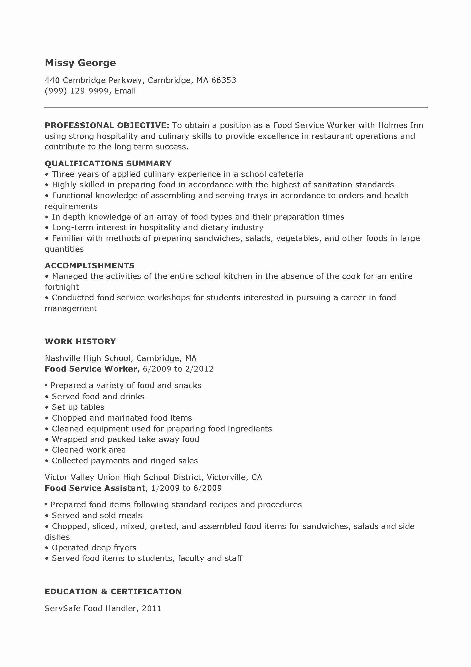 23 food service worker job description resume in 2020