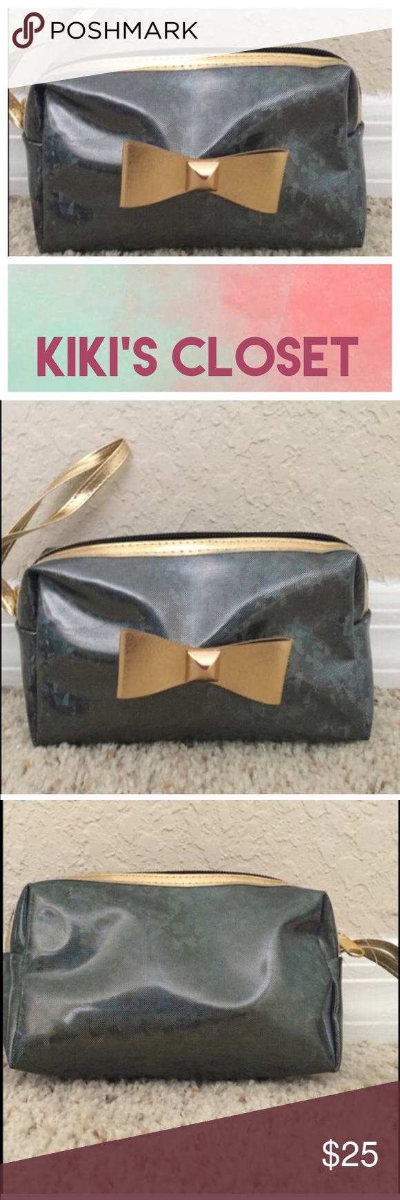 BOW WRISTLET/MAKEUP BAG CUTE MAKEUP BAG. NEW, NEVER USED. --- Plastic Material. Beautiful gold bow. Perfect to use alone as a wristlet bag🍬Love to bundle, will give you a discount---🍬.                                                           💗Condition: Never used.                                    💗No trades 💗No returns 💗No modeling  💗Shipping next day 💗All reasonable offers welcome 💗BUNDLE and save more Nordstrom Bags Cosmetic Bags & Cases
