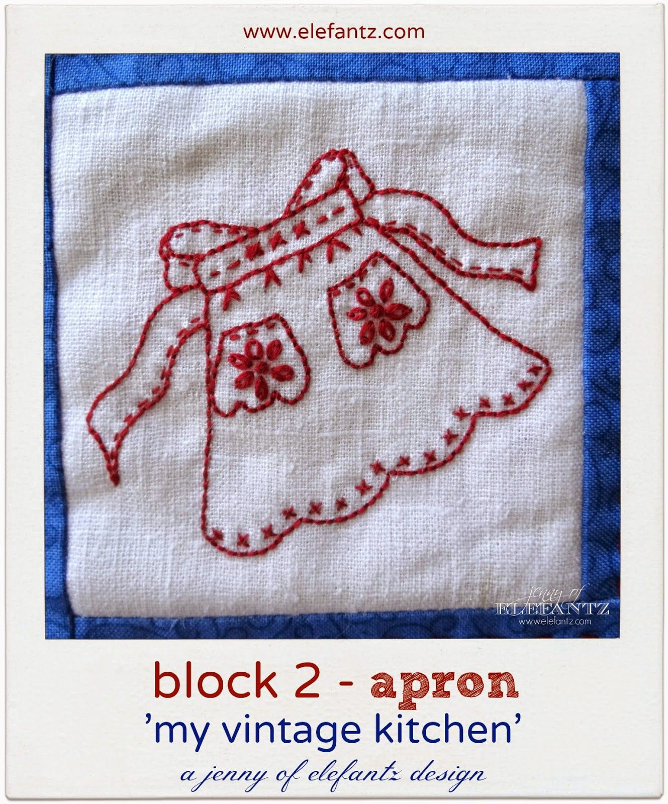 Block 2 The Vintage Kitchen Apron Embroidery Pinterest