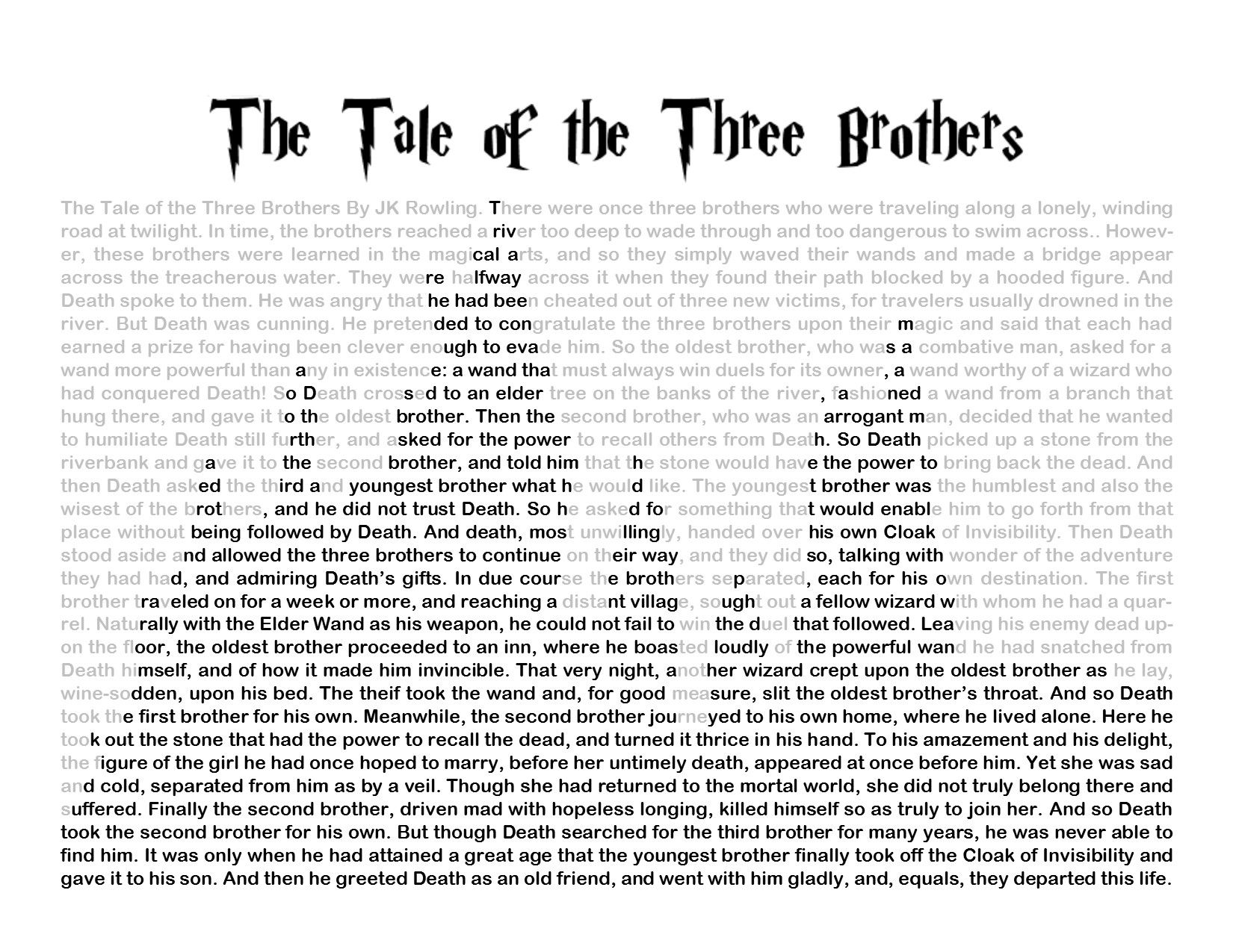 Harry Potter And Thely Hallows Tale Of The Three Brothers Story With Hogwarts Silhouette