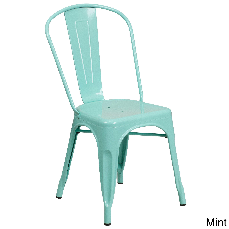 Flash Furniture Metal Indoor Outdoor Chair Purple Patio