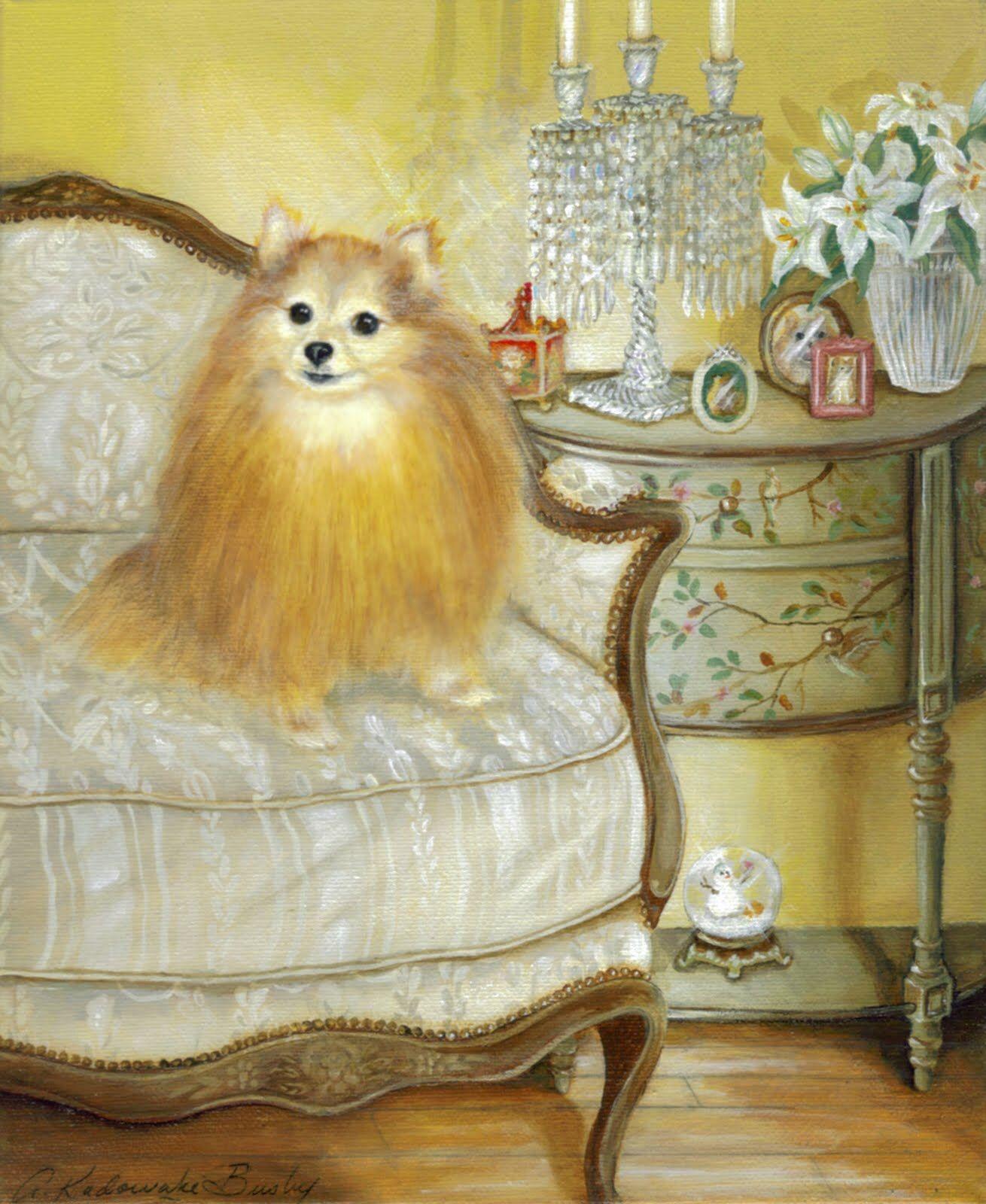 Pomeranian named Beauty - commission portrait. Sold | Wall Art ...