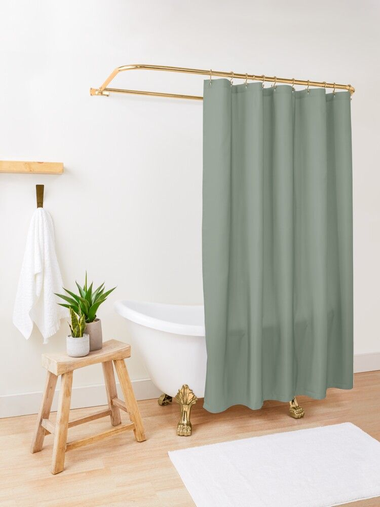 sage green shower curtain by koovox