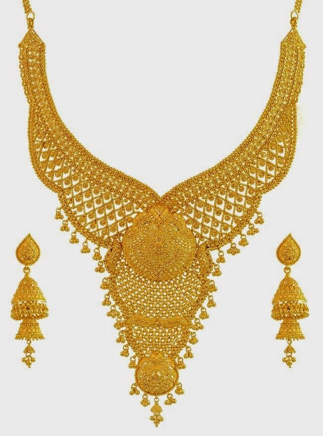 22k gold hand crafted bridal necklace set with ear rings - Latest ...