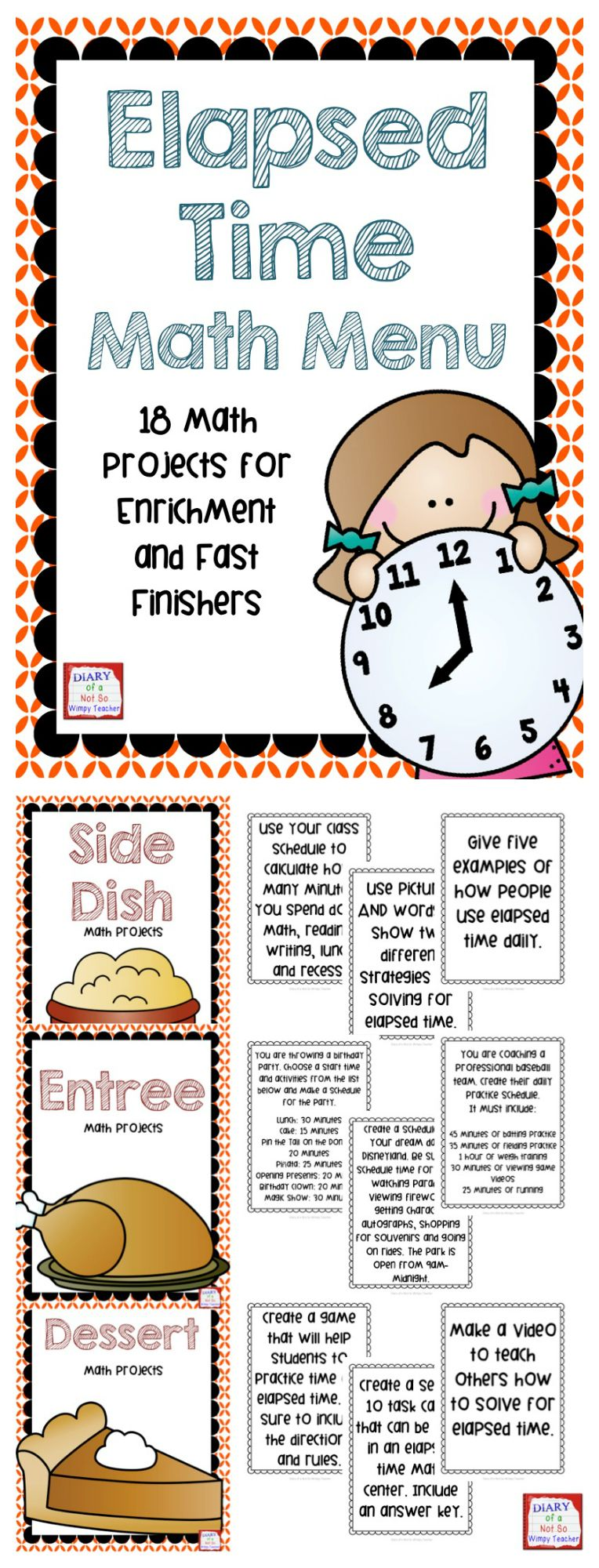 Elapsed Time Math Menu Choice Board with 18 Projects | Real life ...