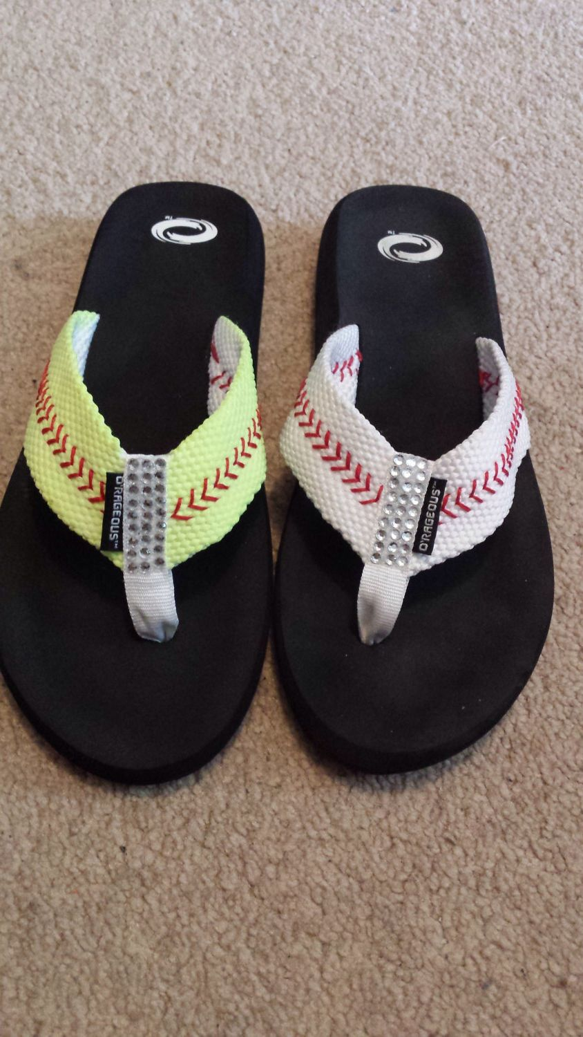 Flip flops stitched to look like baseball or softball. This picture is one of each so you may choose which you prefer by JumbleJoJo on Etsy https://www.etsy.com/listing/203381957/flip-flops-stitched-to-look-like