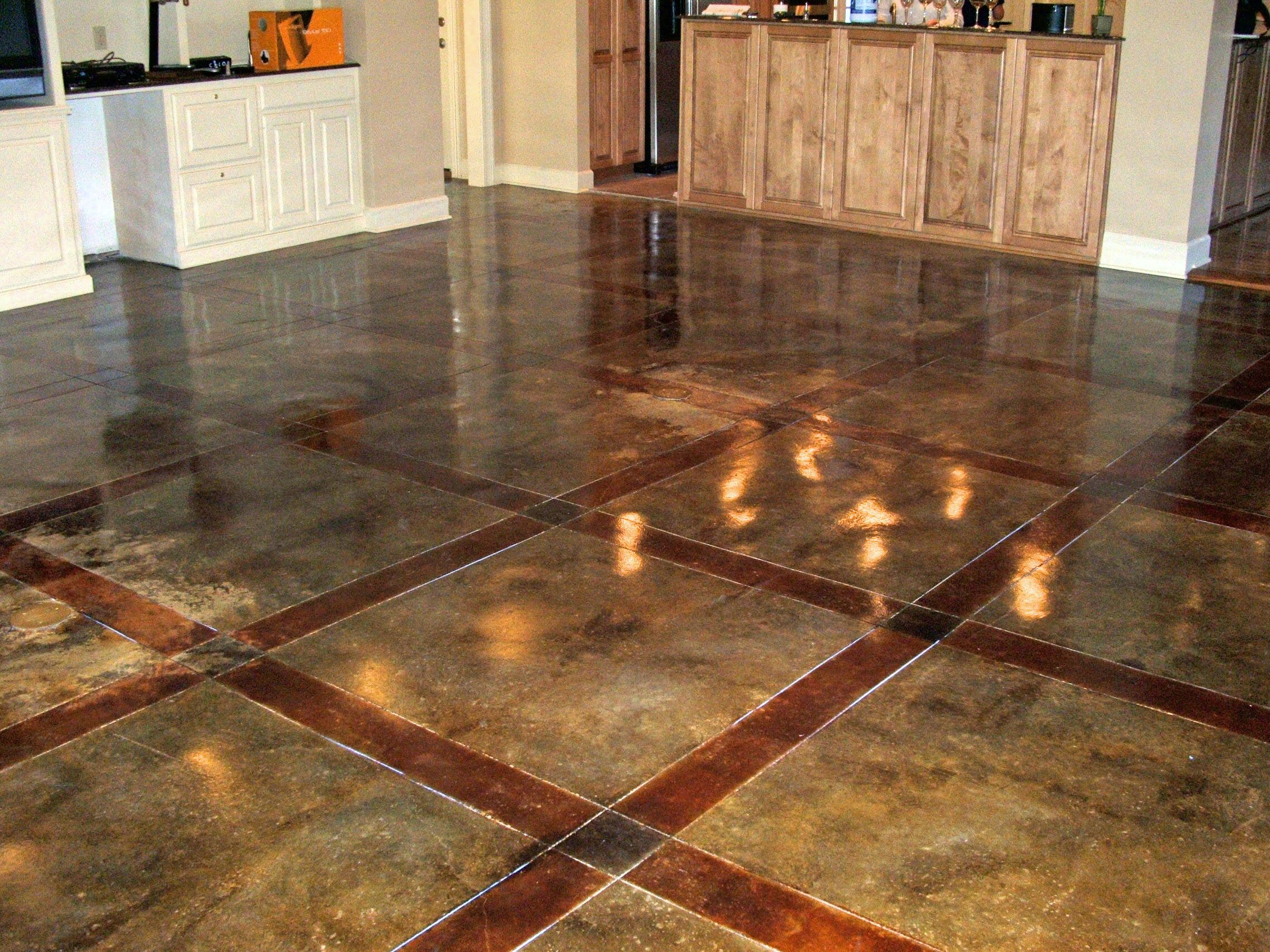 this is raw concrete stain brown and red acid. | basement basics