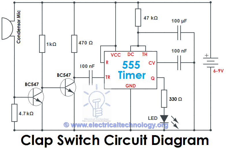 Clap Switch Circuit Using IC 555 Timer & Without Timer