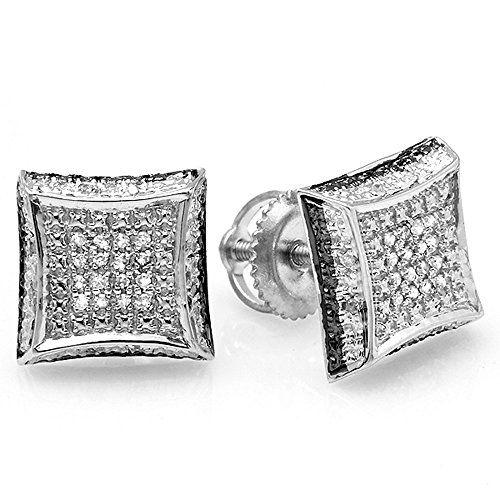 0 10 Carat Ctw White Round Diamond Micro Pave Setting Kite Shape Stud Earrings 1