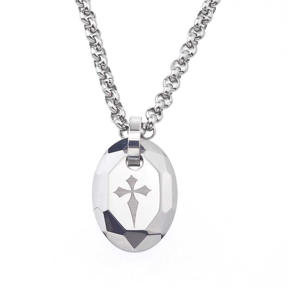 Tungsten And Steel Men S Engraved Cross Oval Necklace By Ever One