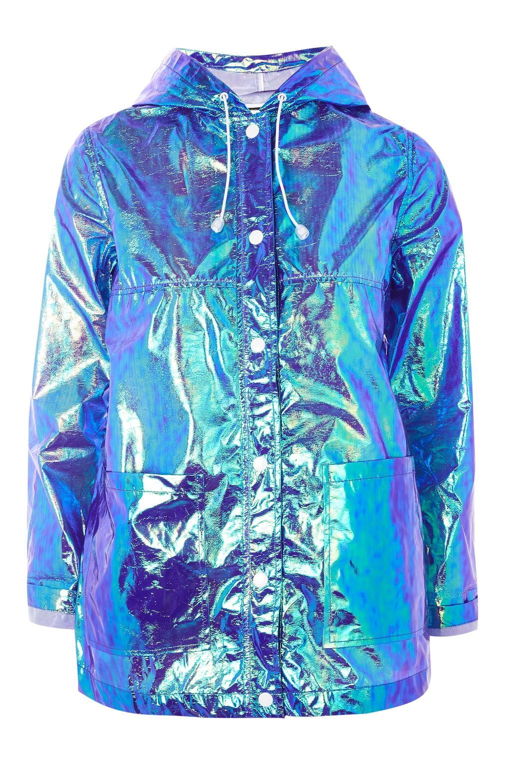 Girls Holographic Iridescent Shiny Silver Raincoat Hooded Jacket Childrens Kids