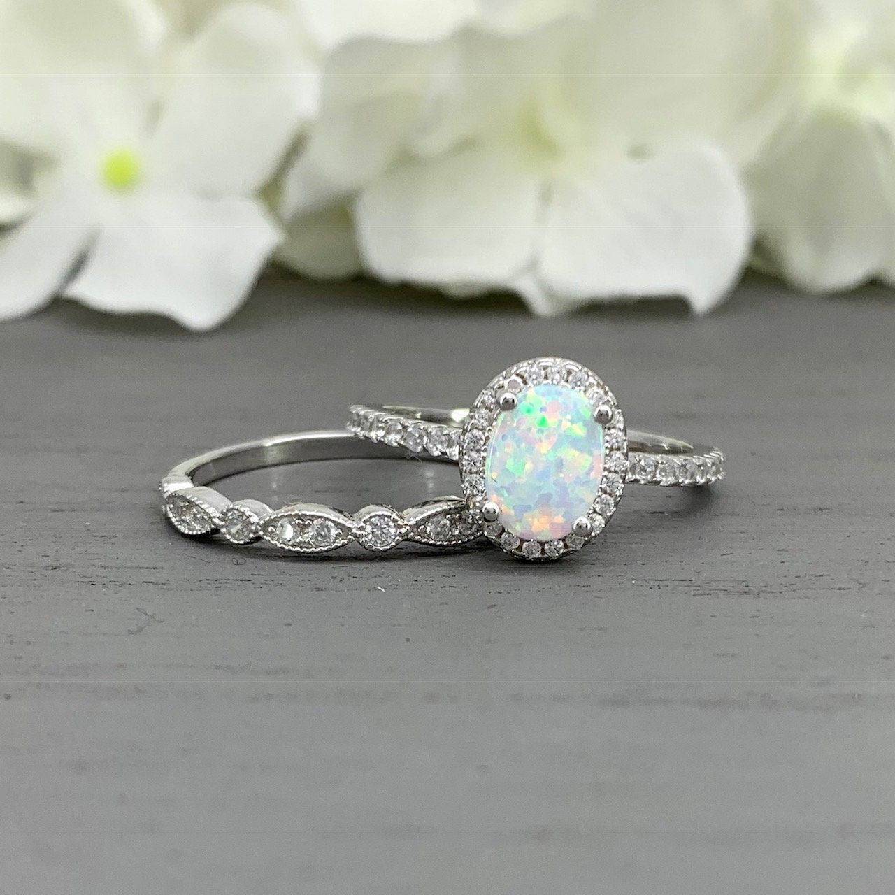 Anniversary Gift,New Opal Ring Lucky In Love Stone Anniversary Gift Wedding Band Engagement Ring