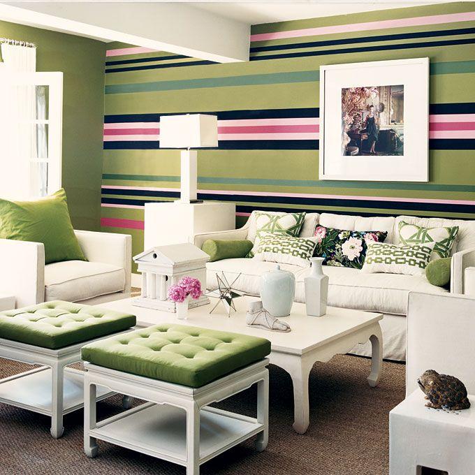 Como pintar una pared a rayas verticales perfect papel pintado en rayas o verticales enero with - Pared pintada a rayas verticales ...