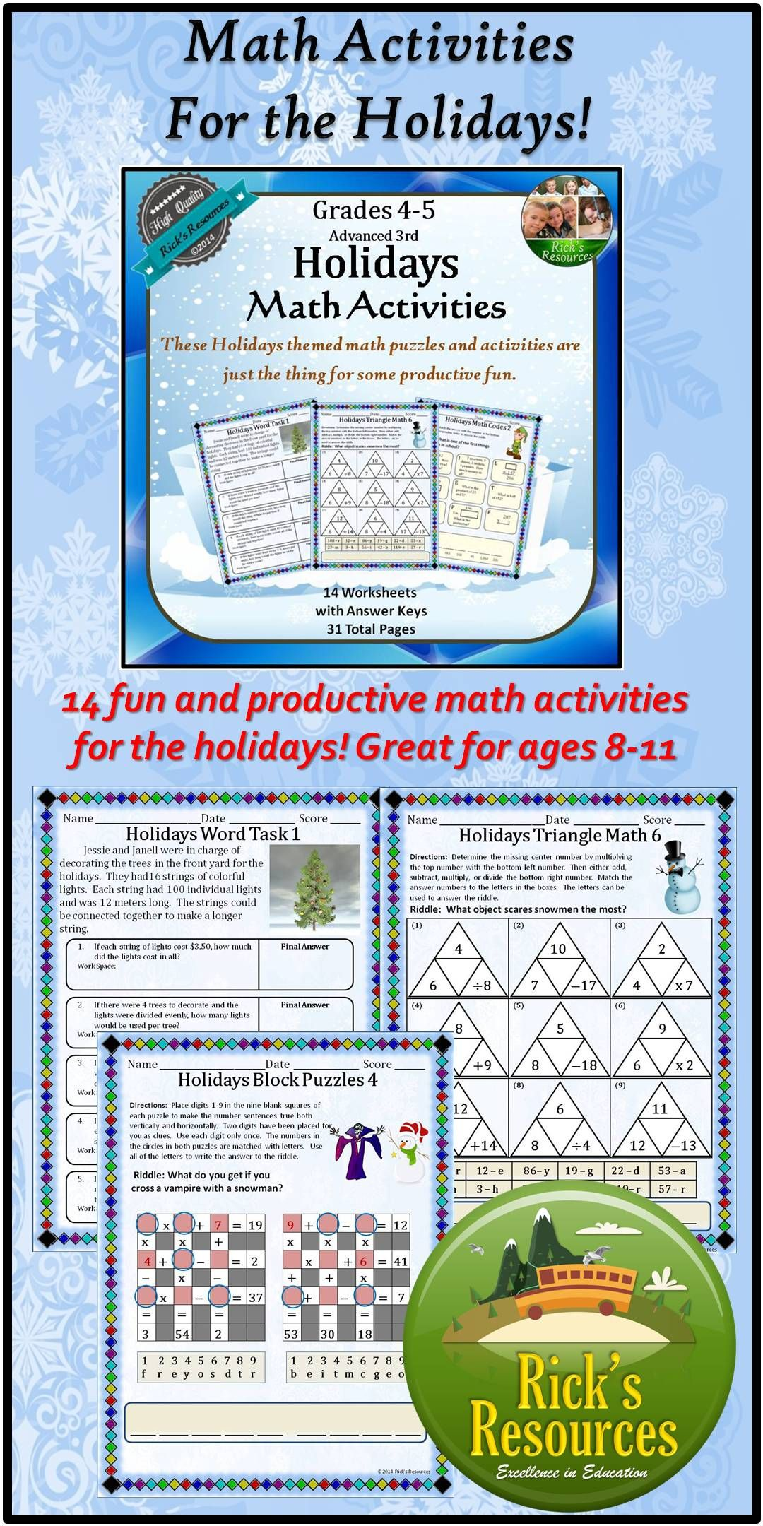 Christmas Hanukkah Kwanzaa Math Activities | Kwanzaa, Math ...