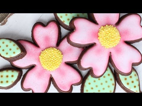 Easy Airbrushing on Flower Cookies - Tattoo inspired Flower Cookies for Valentine's Day - YouTube