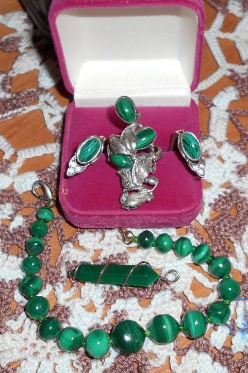 Jewelry with a Russian malachite