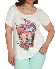 Floral Skull Off Shoulder Top