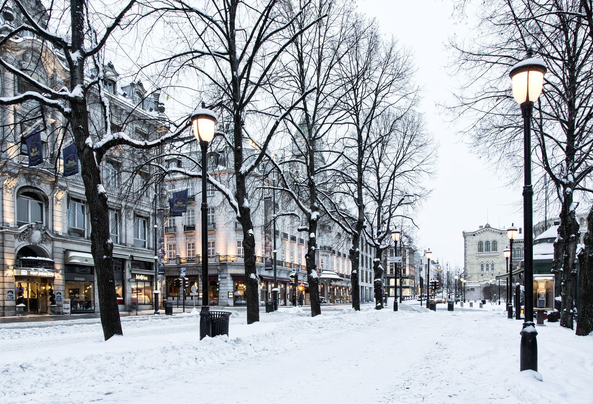 Image result for oslo karl johan gate winter