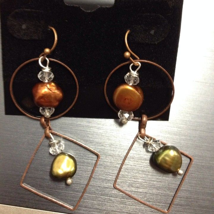 Copper Dangles With Olive And Brown Pearls from The Candy Box LLC for $12.00 on Square Market