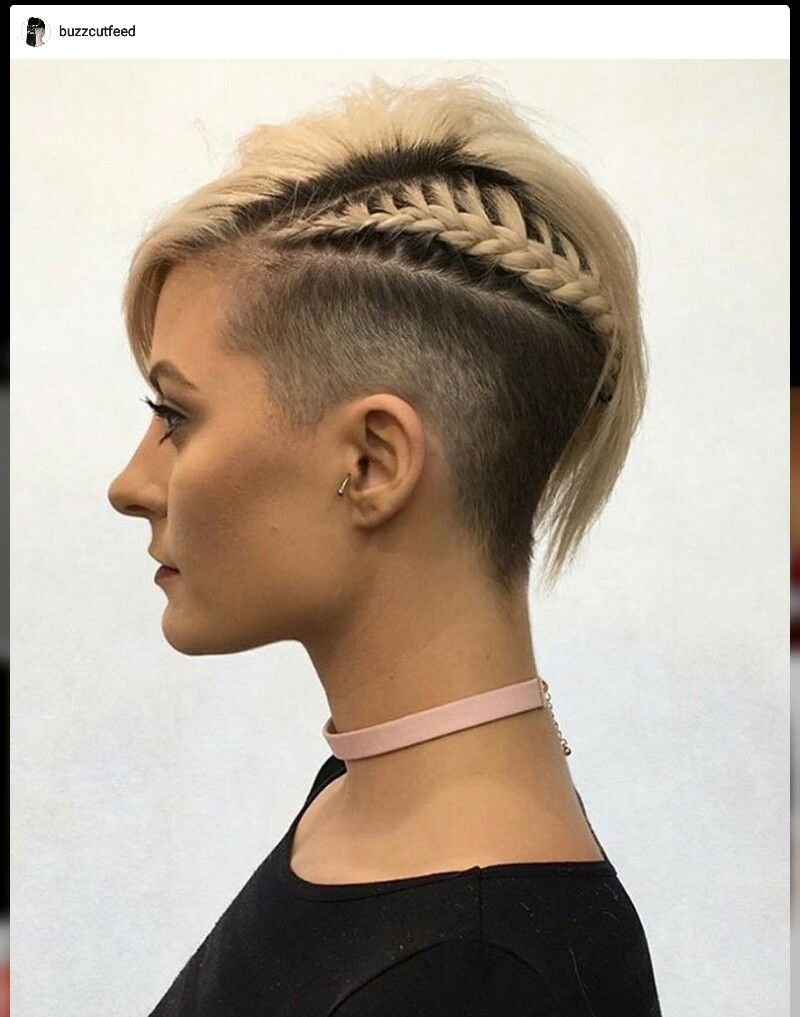 Undercut hairstyles side cut shaved sides side braid Pixie cut