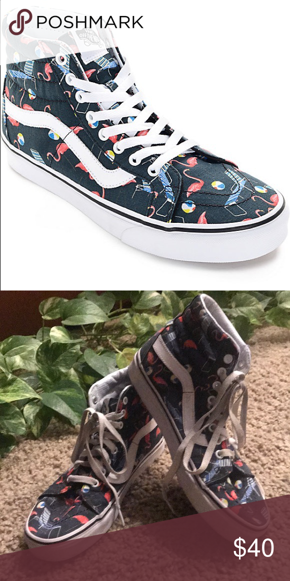 6d93ffc64f Vans Sk8-Hi Pool Vibes Black and White Skate Shoes Fun summer vibe shoes.