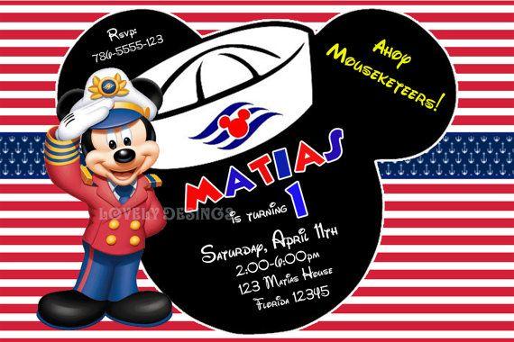 Sailor Mickey Mouse Nautical Birthday Invitations Por