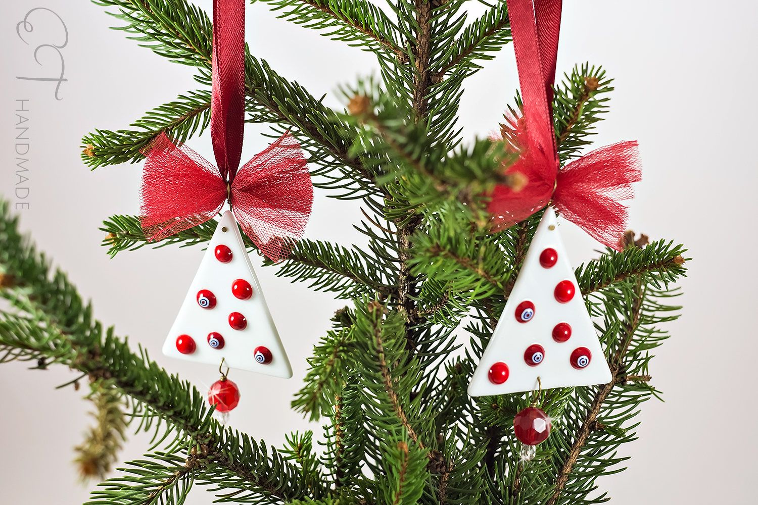 white and red tree ornaments set murano glass christmas ornaments tree decoration xmas ornament - Glass Christmas Tree Decorations