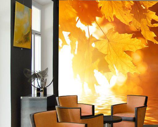Fleece Wall Mural Autumn Leaves Wallpaper Wall art Wall decor Fall ...