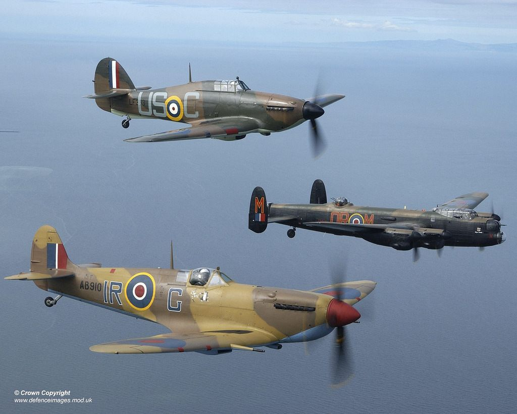 Hurricane Mark II, Avro Lancaster Mk 1 & Spitfire Mark Vb over Blackpool. Photographer: Images by Sgt Jack Pritchard, RA Part of a series of images captured during a 2 day period spent with the Royal Air Forces Battle of Britain Memorial Flight which is based at RAF Coningsby, Lincolnshire.