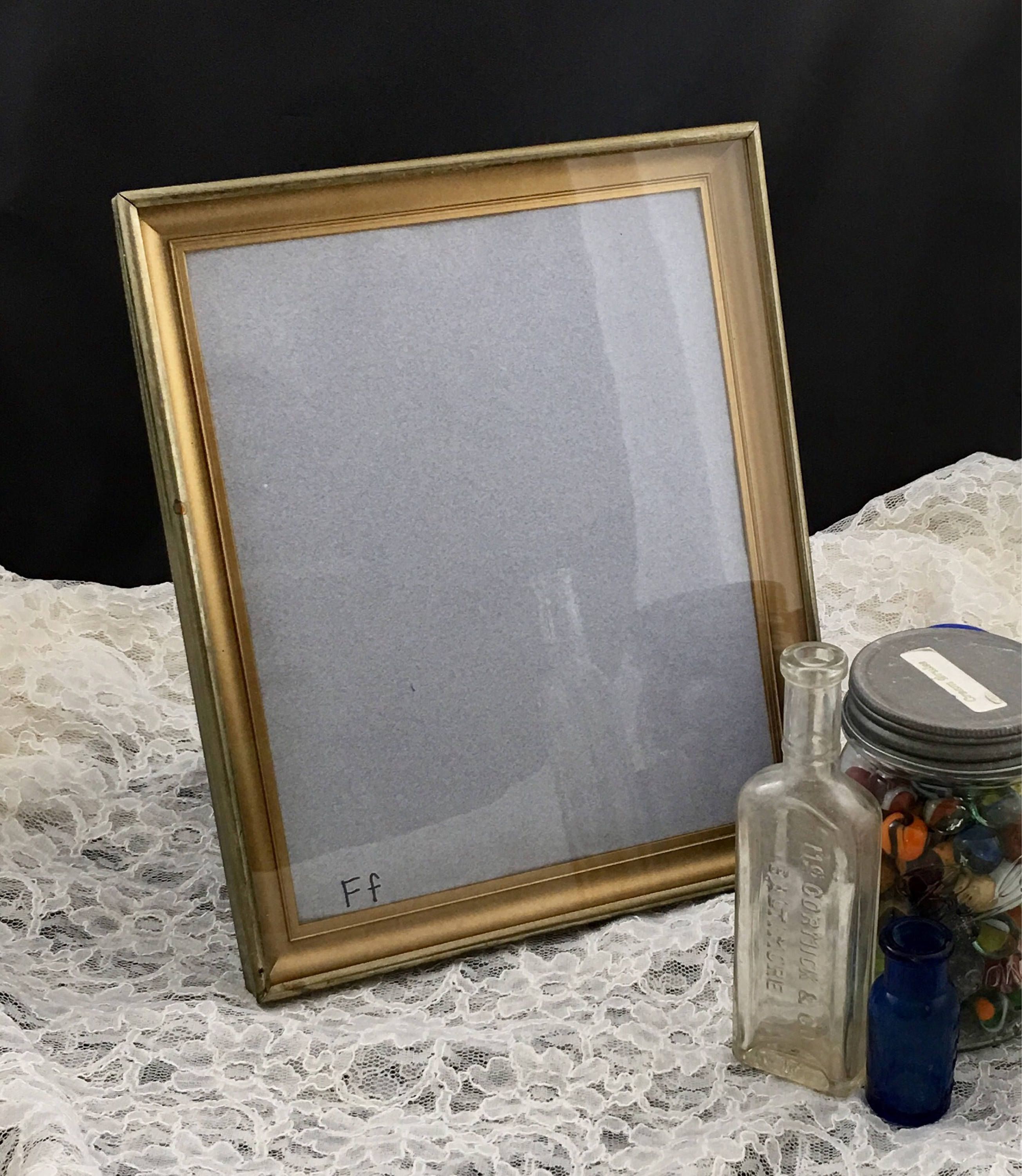Vintage 8x10 Shadow Box Style Embossed Ornate Gold Metal Picture ...