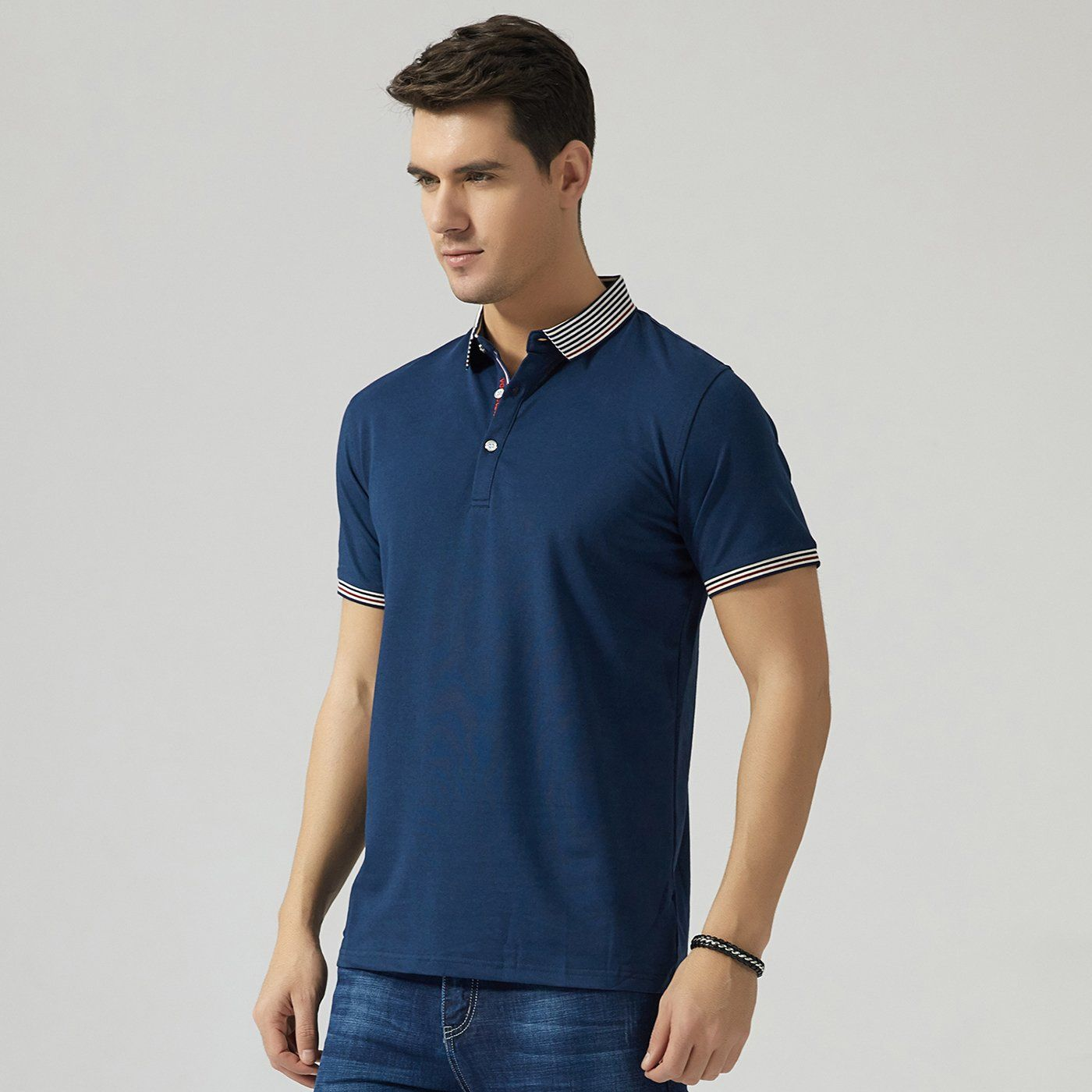 Polo Shirts For Men Mens Fashion Solid Color Business Polo T Shirt