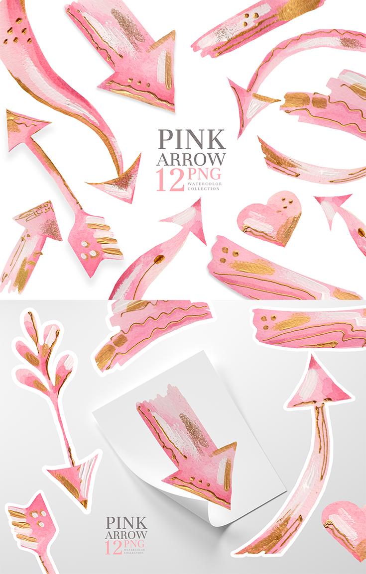 Arrow Clipart Pink Arrows Png Pink Brush Strokes Clip Art Digital Download Clip Art Pink Brushes Arrow Clipart