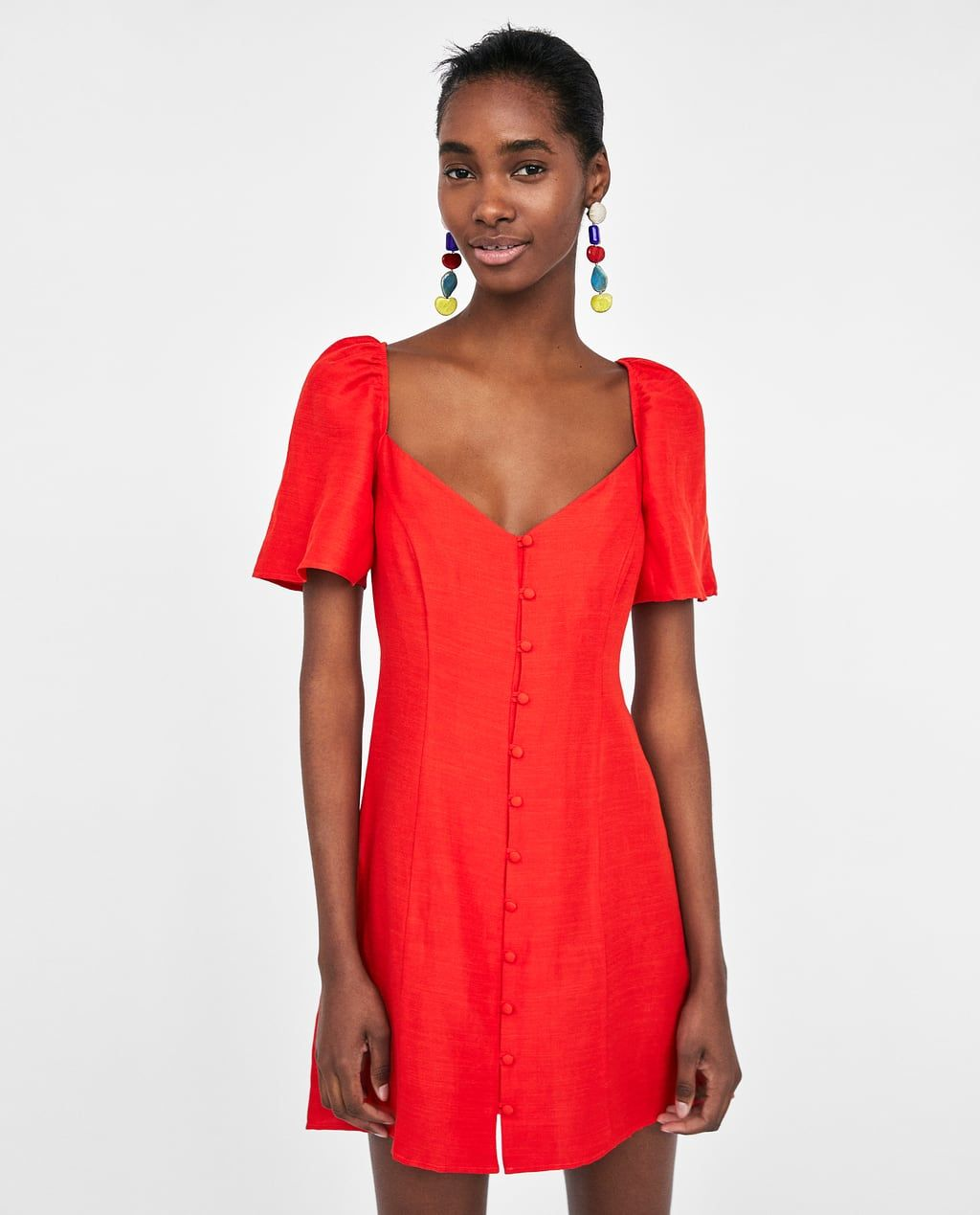 4ac5344979926d Image 4 of SHORT DRESS WITH PUFF SLEEVES from Zara